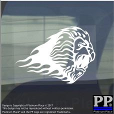 Lion Flame-Adhesive Vinyl Sticker-Car Window Graphic Decal Sign Animal,Lynx,Zoo